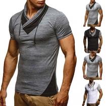 Fashion Contrast Color Short Sleeve Cowl Neck Men's T-shirt