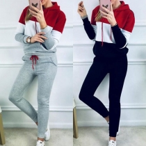 Fashion Contrast Color Long Sleeve Hooded Sports Suit