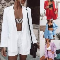 Fashion Long Sleeve Blazer + High Waist Shorts Two-Piece Set
