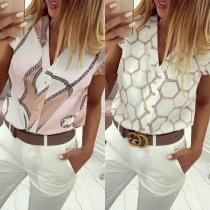 Fashion Sleeveless V-Neck Ruffle Printed Blouse