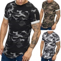 Casual Round Neck Zipper Sleeve Camouflage Printed Man's T-Shirt