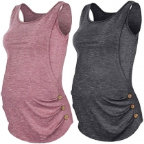 Fashion Solid Color Side-button Maternity Tank Top