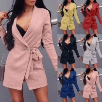 OL Style Long Sleeve Lace-up Plaid Blazer