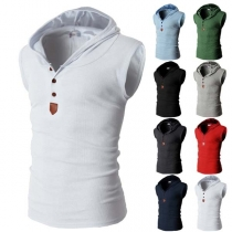 Fashion Solid Color Sleeveless Hooded Man's Top