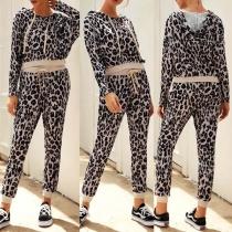 Fashion Long Sleeve Leopard Printed Hoodie + Pants Two-piece Set
