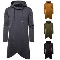 Fashion Solid Color Long Sleeve Irregular Hem Man's Hoodie