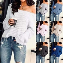 Fashion Solid Color Long Sleeve Boat Neck Frayed Hem Sweater