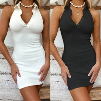 Sexy Backless POLO Collar Solid Color Slim Fit Dress