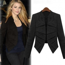 Fashion Solid Color Long Sleeve Faux Suede Blazer