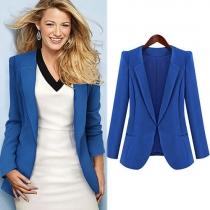 Fashion Solid Color Long Sleeve Blazer