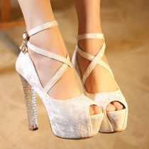 Sexy Crystal Thick High-heeled Platform Peep Toe Shoes
