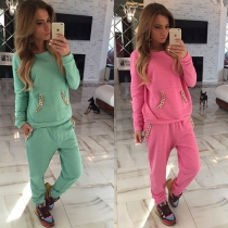 Fashion Solid Color Casual Sports Suit