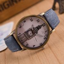 Retro Denim Watch Band Round Dial Quartz Watch
