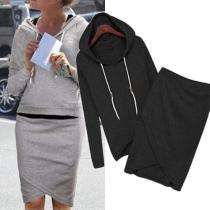 Fashion Long Sleeve Hoodies + Irregular Hem Bust Skirt Two-piece set
