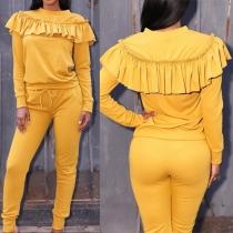Fashion Solid Color Ruffle Sweatshirt + Pants Sports Suit