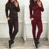 Fashion Solid Color Long Sleeve Round Neck Sweatshirt + Pants Sports Suit