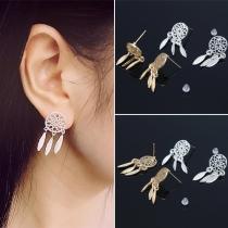 Bohemian Style Feathers Pendant Alloy Earrings