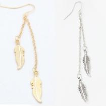 Fashion Gold/Silver-tone Leaf Tassel Earrings