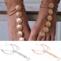 Ethnic Style Gold/Silver-tone Carving Alloy Anklet