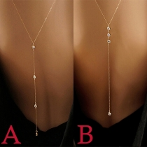 Fashion Rhinestone Inlaid Tassel Pendant Body Chain
