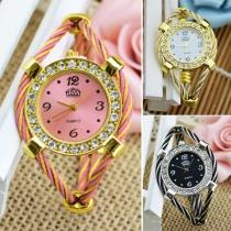 Fashion Rhinestone Inlaid Round Dial Quartz Watch