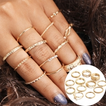 Fashion Gold-tone Alloy Ring Set 12 pcs/Set