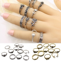 Retro Style Totem Rose Carving Alloy Ring Set 11 pcs/Set