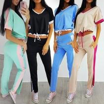Fashion Contrast Color Short Sleeve V-neck Top + Pants Sports Suit