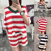 Fashion Short Sleeve T-shirt + Shorts Striped Two-piece Set