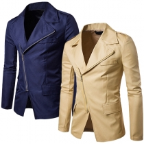 Fashion Solid Color Long Sleeve Oblique Zipper Slit Hem Men's Blazer