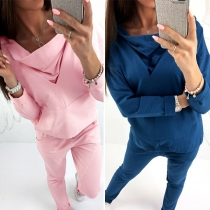 Fashion Solid Color Long Sleeve Hoodie + Pants Two-piece Set