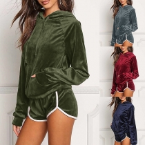 Fashion Solid Color Long Sleeve Hoodie + Shorts Sports Suit