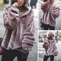 Fashion Solid Color Long Sleeve Loose Hoodie