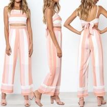 Sexy Backless Sling Crop Top + High Waist Wide-leg Pants Striped Two-piece Set