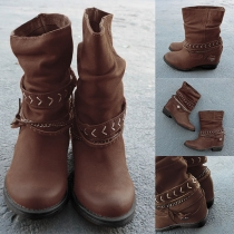 Retro Style Round Toe Inner-increased Boots