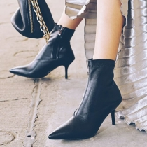 Fashion High-heeled Pointed Toe Side-zipper Ankle Boots