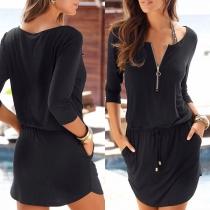 Fashion Solid Color 3/4 Sleeve Drawstring Waist Dress