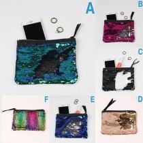 Fashion Contrast Color Sequin Clutch Coin Purse