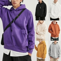 Fashion Solid Color Long Sleeve Man's Loose Hoodie