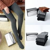 Fashion Solid Color High Waist Plush Lining Leggings