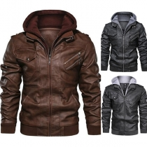 Fashion Long Sleeve Hooded Man's PU Leather Jacket