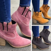 Fashion Thick Heel Round Toe Ankle Boots Booties