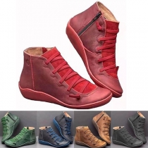 Fashion Flat Heel Round Toe Lace-up Ankle Boots Booties