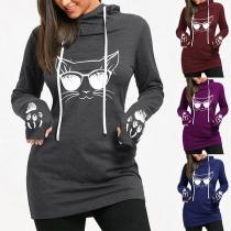 Cute Cat Printed Long Sleeve Hooded Sweatshirt
