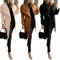 Fashion Solid Color Long Sleeve Lapel Woolen Coat with Waist Strap(It falls small)
