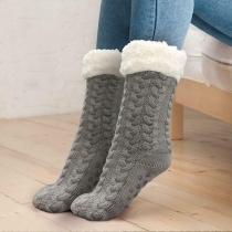 Fashion Solid Color Plush Lining Anti-slip Knit Socks