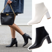 Fashion Thick Heel Square Toe Ankle Boots Booties