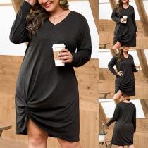 Fashion Solid Color Long Sleeve V-neck Twisted Hem Plus-size Dress