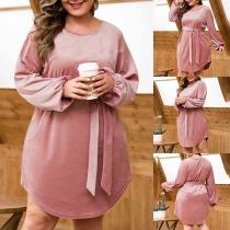 Fashion Solid Color Lantern Sleeve Round Neck High Waist Dress