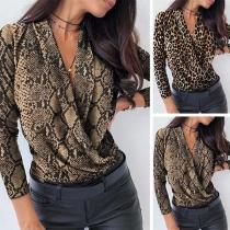 Sexy Deep V-neck Long Sleeve Leopard/Serpentine Printed Short Top
